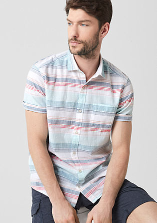 Regular: short sleeve shirt with a woven pattern from s.Oliver