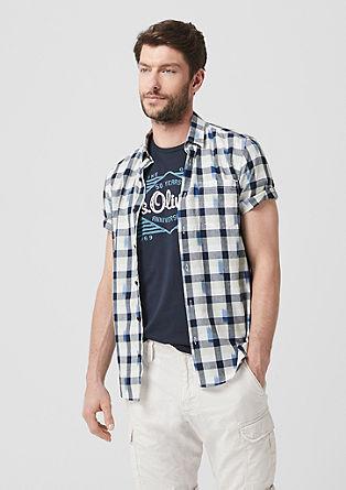 Slim: overhemd met korte mouwen en ruitmotief