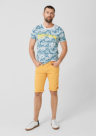 Slim: T-shirt with a tropical pattern from s.Oliver