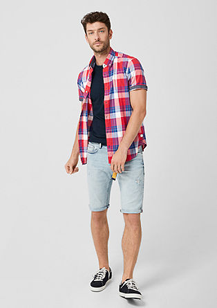 Slim: Short sleeve shirt with colourful checks from s.Oliver