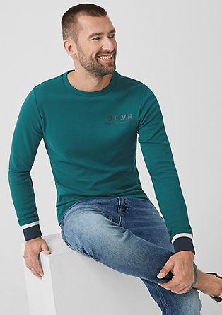 Slim: Majica dolg rokav z rebrasto okrasno obrobo