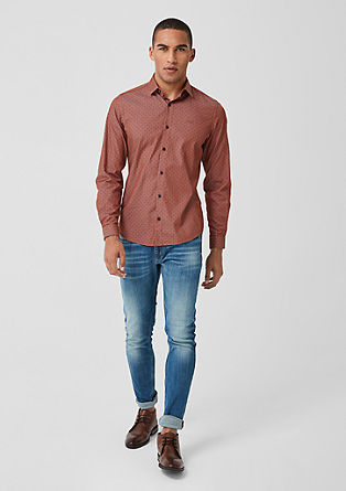 Slim: Shirt with a chambray pattern from s.Oliver