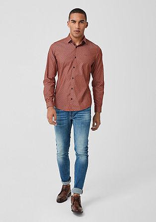 Slim: Hemd mit Chambray-Muster