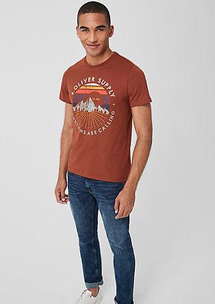 Jersey shirt met print in retro look