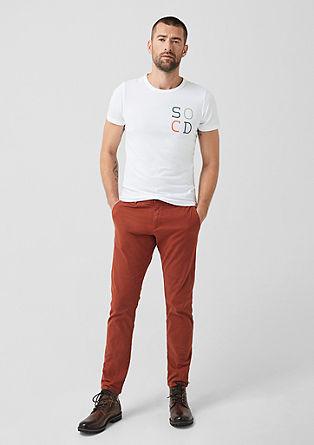 Slim: T-shirt met rubberprint