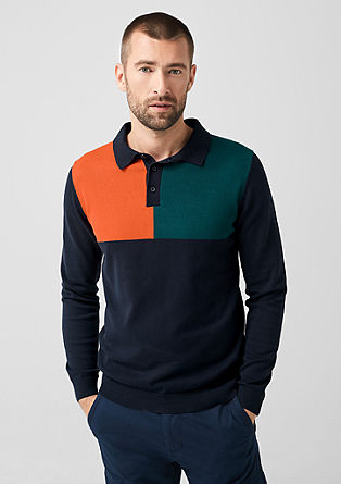 Knitted jumper with a polo collar from s.Oliver