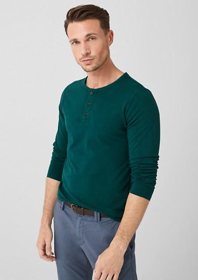 Slim: T-shirt à manches longues muni d'une patte de boutonnage de s.Oliver