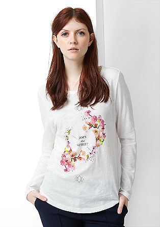 Printed long sleeve top with gemstones from s.Oliver