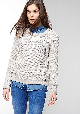 Pullover im Materialmix