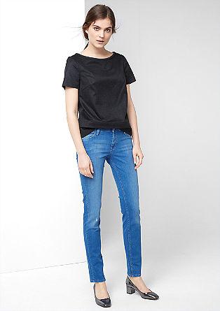 Shape slim fit: jeans met slijtageplekken