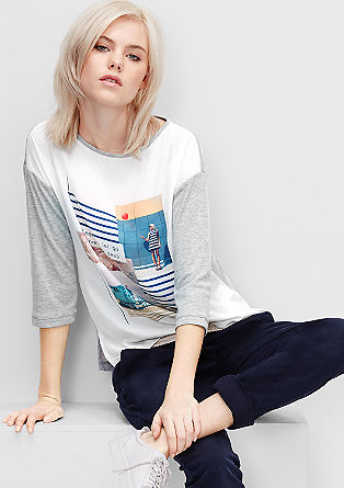 Printed blouse top with crêpe from s.Oliver