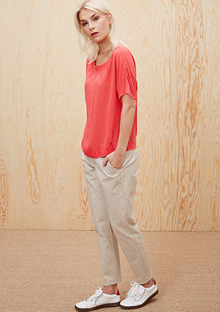 Bestickte Crêpe-Bluse
