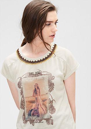 Verziertes T-Shirt aus Leinen-Mix