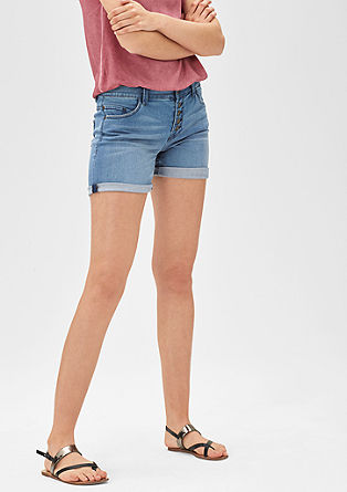 Denim-Shorts mit Knopfleiste