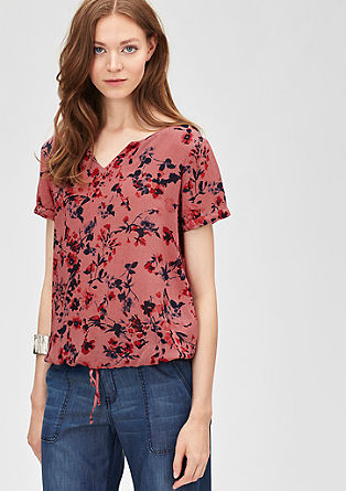 Floral blouse with drawstring from s.Oliver