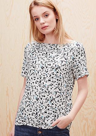 Vzorčasta bluzna majica iz viskoznega krepa