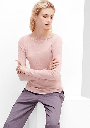 Feinstrick-Pullover mit Melange-Effekt