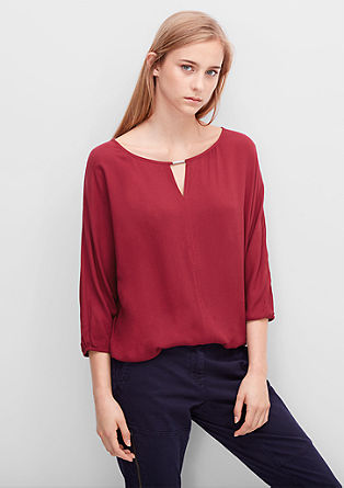 Blouse top with a decorative neckline from s.Oliver