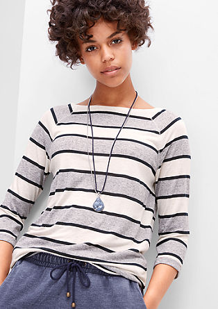 Striped linen blend top from s.Oliver