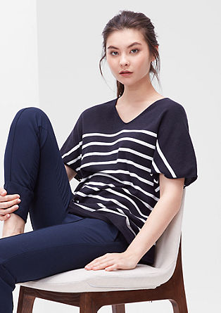 Casual fine knit jumper with stripes from s.Oliver