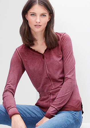 Long sleeve top with a lace border from s.Oliver