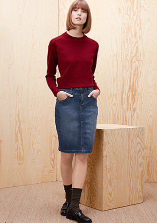 High-waisted denim rok
