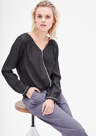 Blouse top with contrasting piping from s.Oliver