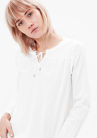 Blouse top with a smocked yoke from s.Oliver