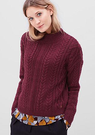 Pulover s pletenimi kitami iz volnene mešanice