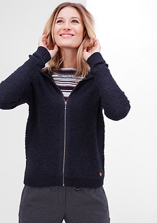 Bouclé cardigan with a hood from s.Oliver