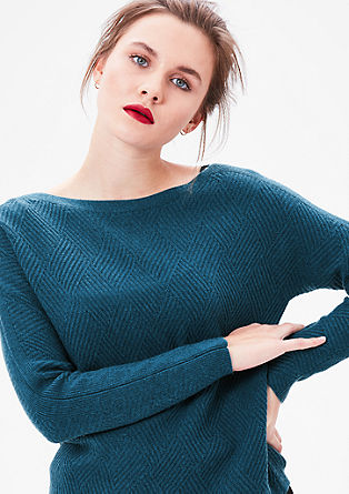 Musterstrick-Pullover mit Wolle