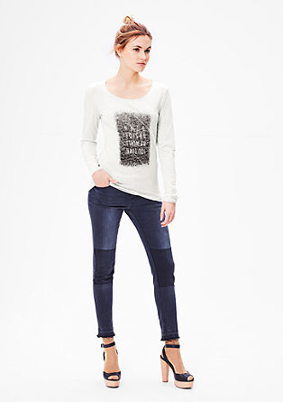 Mottled long sleeve top with a print from s.Oliver