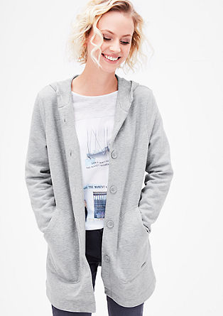 Button-fastening long sweatshirt jacket from s.Oliver