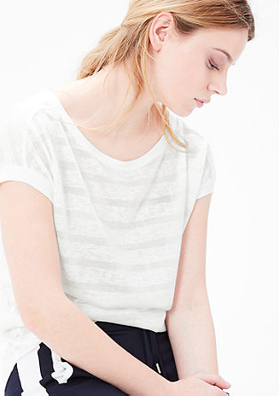 Ausbrenner-Shirt in Leinen-Optik