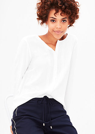 Viskose-Bluse mit Dekoborte
