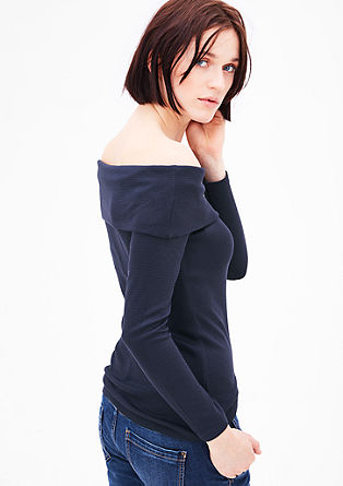 Žebrované tričko s odhalenými rameny
