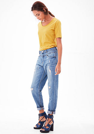 T-shirt with a rolled edge at the neckline from s.Oliver