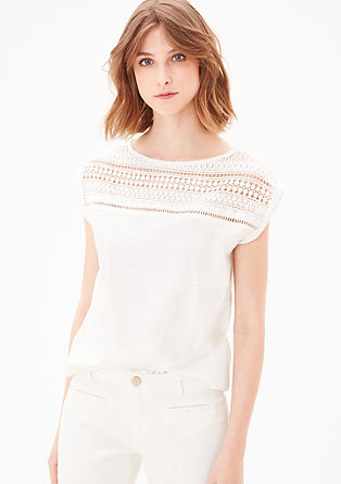 Slub yarn top with crochet lace from s.Oliver