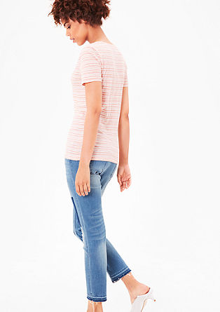 V-neck T-shirt with stripes from s.Oliver