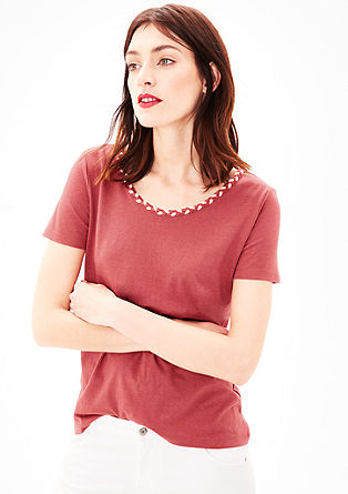 T-shirt with braided collar from s.Oliver