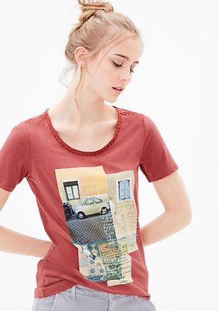 Print T-shirt with embroidery from s.Oliver
