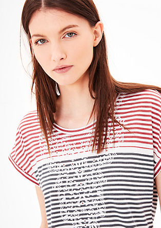 Embroidered striped top from s.Oliver