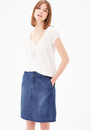 Denim skirt with a polka dot texture from s.Oliver