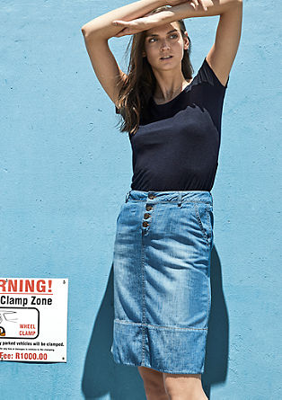 Lightweight denim skirt with buttons from s.Oliver
