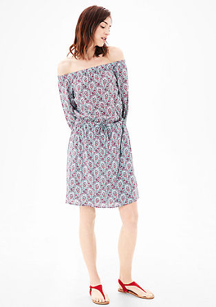 Off-the-shoulder dress with an ethnic pattern from s.Oliver