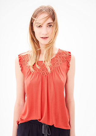 Frilled top with cotton lace from s.Oliver