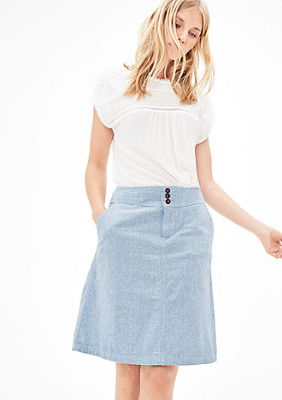 Linen skirt with woven stripes from s.Oliver