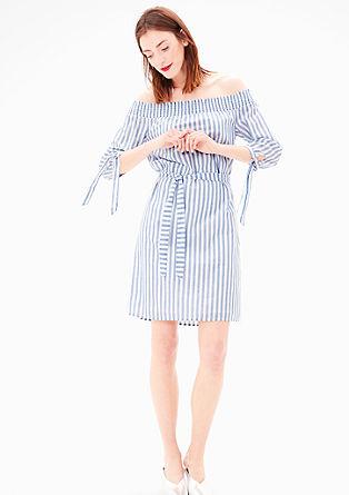 Off Shoulder-Kleid mit Streifen