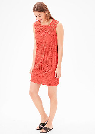 Casual cotton dress with an openwork pattern from s.Oliver