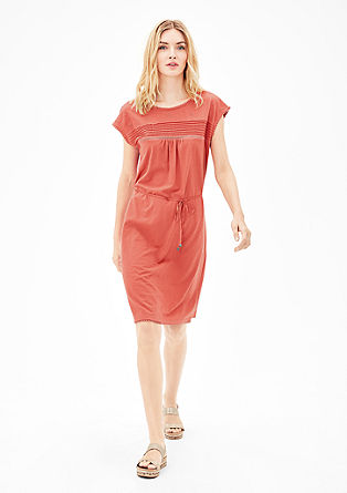 Slub yarn jersey dress with pintucks from s.Oliver